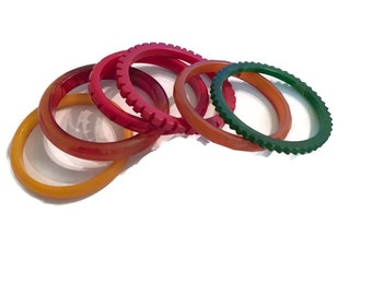 Instant Bakelite Bracelet Collection, stack of 6..