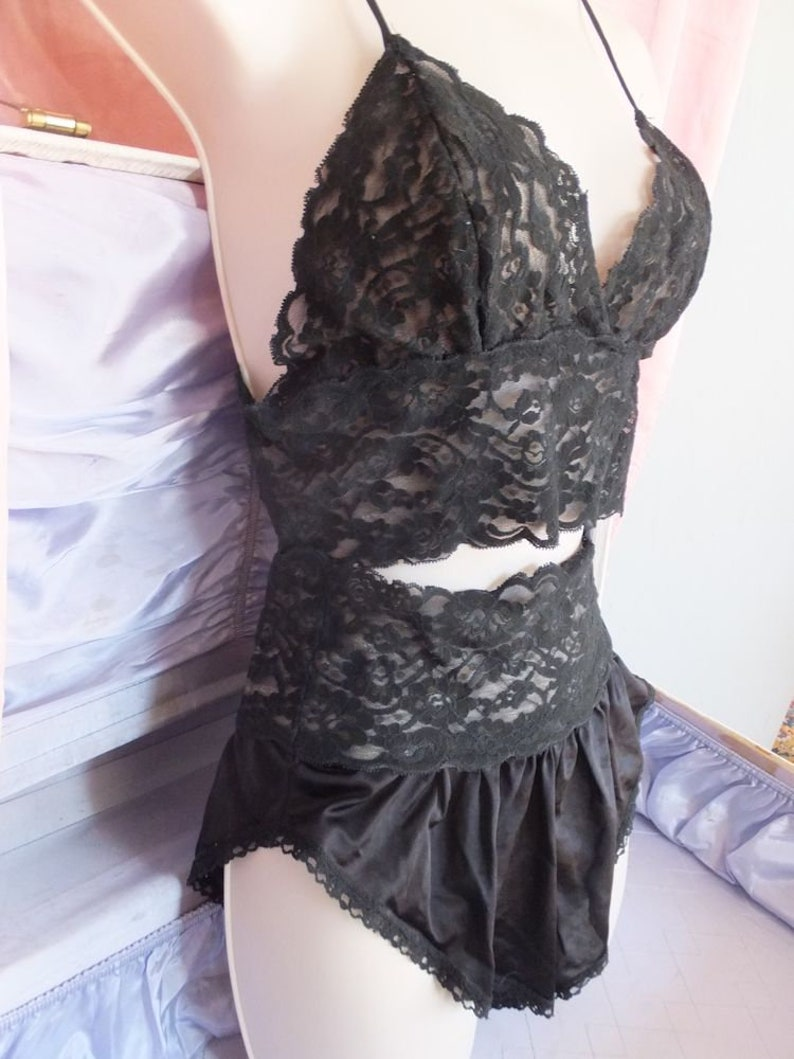 2a23b5dcd Vintage Pajama Set 2 pc Black Lace Pajama Set Sexy   Saucy