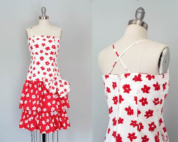 1980s convertible strapless dress | vintage red &