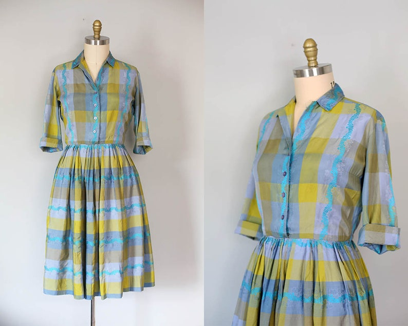 f16667a5a20 1950s silk shirtwaist dress blue green plaid full skirt