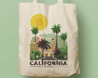 Los Angeles California Custom Tote, Beach Tote, Bridesmaid gift, Bachelorette Tote, Wedding Bag, Welcome Bag, Personalized Tote