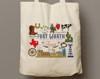 Fortworth Texas Custom Canvas Tote Bag, Welcome Bag, Bridesmaid Gift Tote, Shopping Bag, Souvenir, Wild West Wedding Favor, Guest Gift Bag
