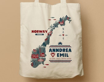Norway Map Personalized Canvas Tote Bag, Custom Canvas Totes, Norwegian Destination Wedding Tote Bags, Bridesmaid gift bags