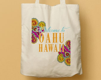 VANESSA Custom Canvas Tote Bag and Destination Wedding Welcome Kit/ Gift Bag, wedding favor, Oahu Hawaii wedding, beach tote, favor bag