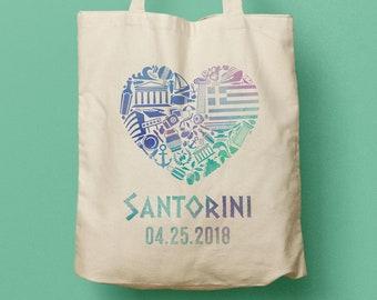 MARSHALL Greece Canvas Totes, Custom Gift Bag and Destination Wedding, Welcome Gift, Beach Tote, Wedding Favor, Swag Bag, Santorini
