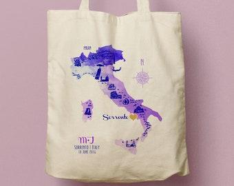 JACKIE Custom Canvas Tote, Italy Landmarks, Welcome GIft Bag, Favor Bag, Beach Tote, Watercolor Italian Map Custom Canvas Tote/ Swag Bag