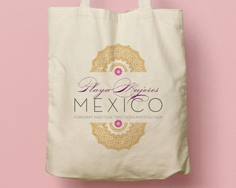 KATHLEEN Custom Canvas Tote, Arabesque Moroccan Inspired Welcome Gift Bag, Beach Tote, Swag Bag, Canvas Bag, Wedding Bag, Wedding Favor