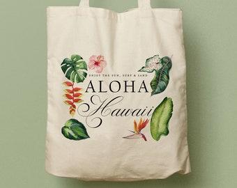 Aloha Mahalo Hawaii Custom Totes, Wedding Bag, Bridesmaid gift, Welcome Tote Destination Wedding Beach Canvas Tote, Luau, Coral Sage
