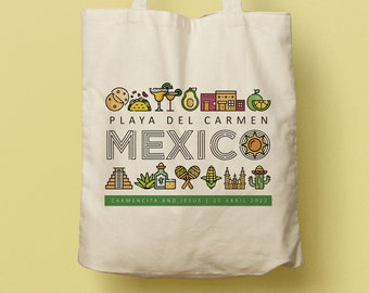 Mexico Custom Totes, Bridesmaid Gift Custom Tote Bag, Otomi Print, Beach Wedding Favor, Welcome Bag, Mexican Fiesta, Travel Souvenir
