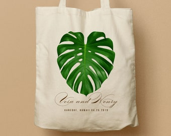 Monstera Leaf Aloha Hawaii Custom Totes, Wedding Bag, Bridesmaid gift, Welcome Tote Destination Wedding Beach Canvas Tote