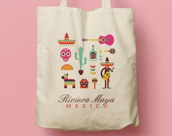 IVANA Mexican Custom Canvas Totes, Wedding Bag, Bridesmaid gift, Welcome gifts, Party Favor, Destination Weddng in Mexico, Beach Tote