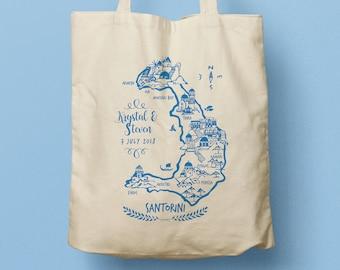 KRYSTAL custom totes bridesmaid gift custom tote bag, watercolor, Santorini, Greece, Custom Illustrated Map beach tote, wedding favor