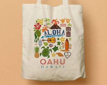 Hawaii Custom Canvas Totes, Wedding Bag, Bridesmaid gift, Welcome gifts, Party Favor, Destination Weddng in Oahu, Beach Tote, Luau