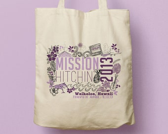 AIMEE Custom Canvas Tote, Original Illustration, Wedding Welcome Kit, Waikoloa Hawaii Wedding, Funny Wedding Tote Bag Design, Beach Bag