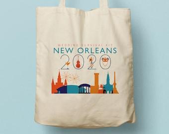 New Orleans Custom Canvas Tote Bag, Bridesmaid Gift, Wedding Favor, Swag Bag, Shopping Bag, Travel Tote, Louisiana, Big Easy