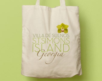GEORGIA Custom Canvas Tote Bag, Beach Tote, Wedding Favor, Welcome Gift, St. Simons Island, Green Orchid, Guest Gift, Bridesmaid Gift