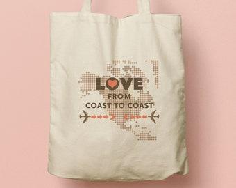 TRACY Custom Canvas Tote, Custom Beach Tote, Swag Bag, Welcome Gift, Wedding Favor, Beach Tote, Souvenir, US Map