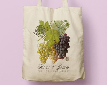 Vineyard Wedding Tote, Napa Valley, Wine Country Wedding, Grapes, Welcome Bag, Rustic Wedding, Personalized Bridesmaid Gift, Winery