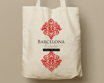 MAYRA Custom Canvas Tote, Barcelona Spain, Red and White Damask, Wedding Favor Bag, Swag Bag, Custom Tote. Bridesmaid Gift, Welcome Gift