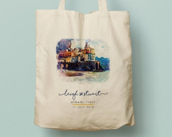 LEIGH custom totes bridesmaid gift custom tote bag, watercolor, Atrani, Italy, Amalfi Coast, beach tote, wedding favor