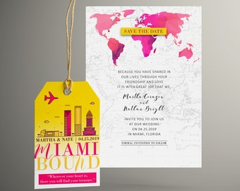 MARTHA Save the Date Luggage Tag, Miami Florida Wedding, Pink and Yellow City Skyline, Travel Inspired, Bag Tag, Invitation Suite