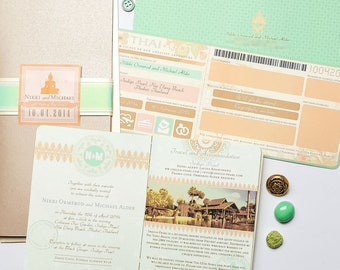 Australian Passport and Thai Boarding Pass Destination Wedding Invitation