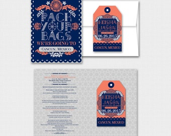 KEISHA Papel Picado Inspired Mexican Fiesta Save the Date Luggage Tag Magnet