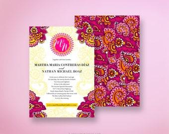 MARTHA Indian Wedding Invitation Colorful and Festive Pink Yellow Orange Henna Design