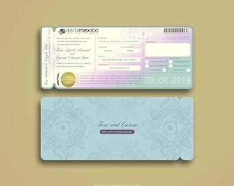 TONI Boarding Pass Invitation, Destination Wedding Invitation Suite, Airline Ticket, Plane Ticket, Ticket Holder Travel Inspired