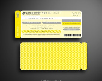 THERESA (Yellow and Gray) Boarding Pass, Destination Wedding Invitation, Travel Inspired, Ticket Holder, Airline Ticket, Plane Ticket
