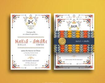 NAKIA African Motif Wedding Invitation Suite, Wakanda Forever, African Print, Kente Cloth, Invitation Card, Blue, Orange, Yellow, Weddings
