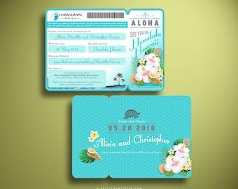 ALANA Aloha Hawaii Hibiscus and Frangipani Boarding Pass Airline Ticket Save the Date