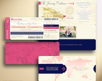 MEGHAN Boarding Pass Airline Ticket Plane Ticket Destination Wedding Invitation Suite