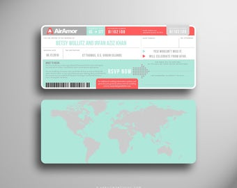 BETSY Boarding Pass, Wedding Invitation, Airline Ticket, Destination Wedding, Invitation Suite, Plane Ticket, Coral, Aqua, Travel Inspired