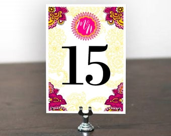 MARTHA Table Number, Table Cards, Table Signs, Wedding Stationery, Wedding Invitation Suite, Mexican Fiesta, Indian Wedding, Henna Inspired