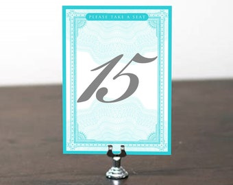 Table Number, Table Cards, Table Signs, Wedding Stationery, Wedding Invitation Suite, Table Number Aqua, Turquoise