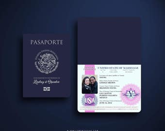 LINDA Mexican Embossed Passport Invitation with Oversized Luggage Tag RSVP Card Travel Insipired Custom Wedding Invite Pink, Turquoise, Blue