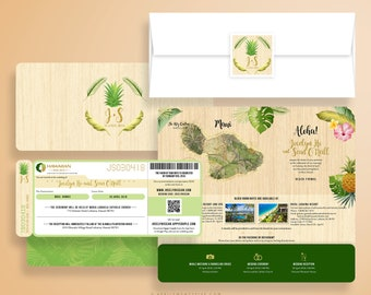 JOCELYN Boarding Pass, Airline Ticket, Plane Ticket, Wedding Invitation,  Stationery, Custom Invites, Wedding in Oahu, Hawaii, Pineapple