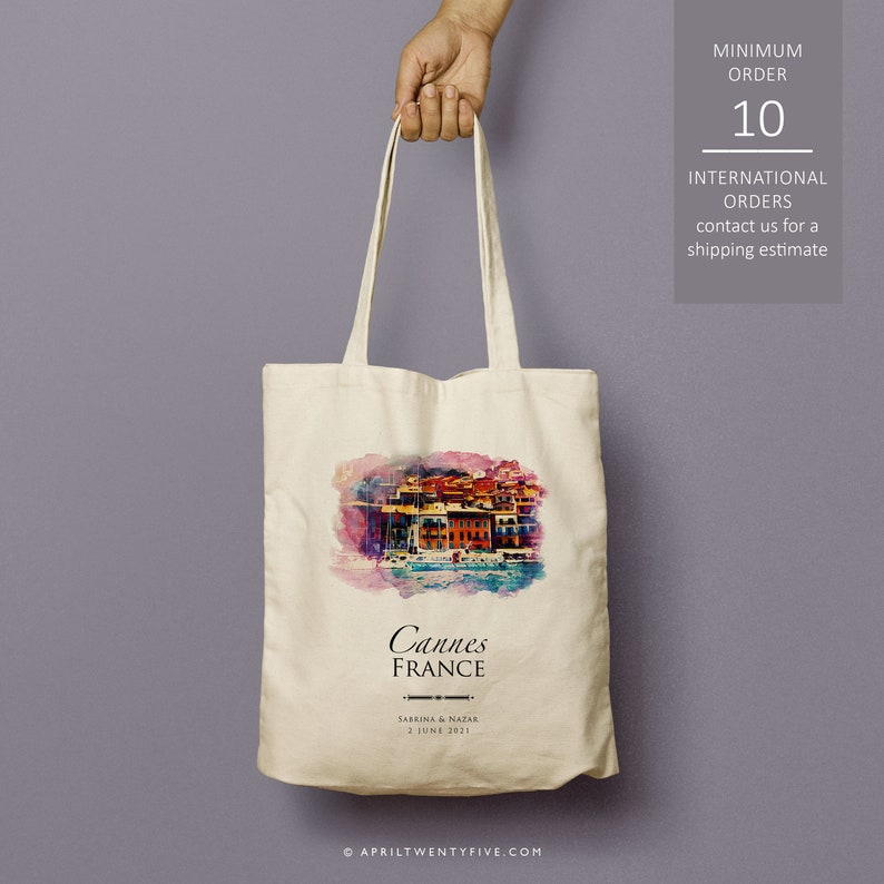 Cote de Azur Cannes France custom totes bridesmaid gift Just the totes