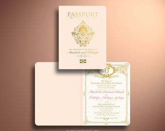 OLA Royal Wedding Passport and Boarding Pass Destination Wedding Invitation Suite, Custom Booklet Invite, Airline Ticket, Plane Ticket