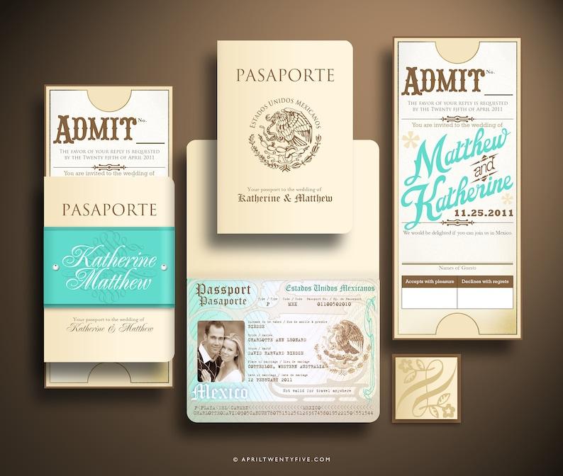 Katherine Vintage Passport Wedding Invitation Suite Train Etsy