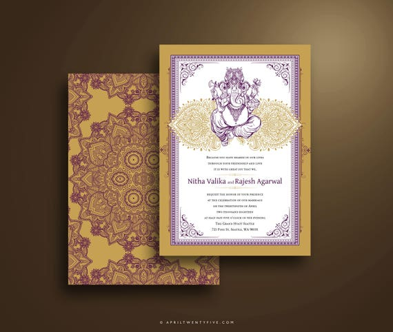 Ganesh Wedding Invitations: NITHA Ganesh Traditional Indian Wedding Invitation Purple