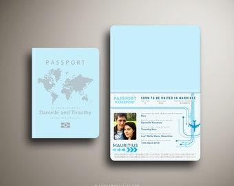 DANNI Passport and Boarding Pass Style Invitation, Custom Destination Wedding Invite, Travel Inspired, Australia Airline Ticket, Blue SIlver