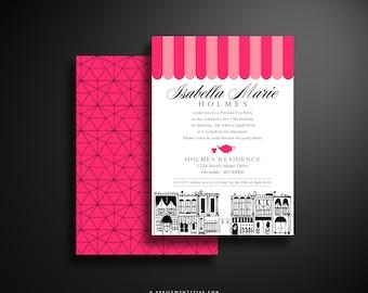 ISABELLA Parisian Cafe Themed Tea Party Invitation Template Digital Download, Paris Cafe, Eifel Tower, Street Doodle, Poodle, Pink and Black