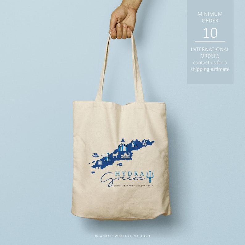 Hydra Greece custom totes bridesmaid gift custom tote bag Just the totes