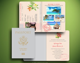 LAVONYA Passport and Boarding Pass Wedding Invitation, Travel Inspired, Wedding Stationery, Invitation Card, Beach Wedding, Airline Ticket