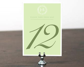 Table Number, Table Cards, Table Signs, Wedding Stationery, Wedding Invitation Suite, Table Number Mint Green, Sage
