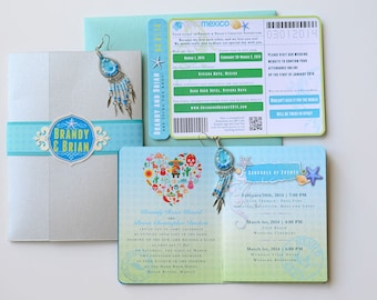 BRANDY Turquoise, Green and Silver Passport Style Destination Wedding Invitation