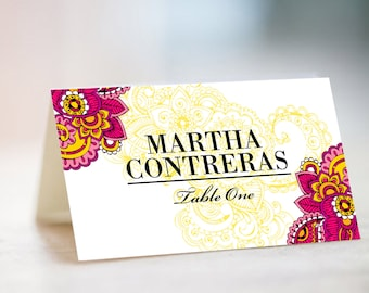 MARTHA Place Cards, Escort Cards, Table Cards, Henna Inspired, Wedding Stationery, Name Cards, Indian Wedding, Mexican Fiesta, Tent Cards