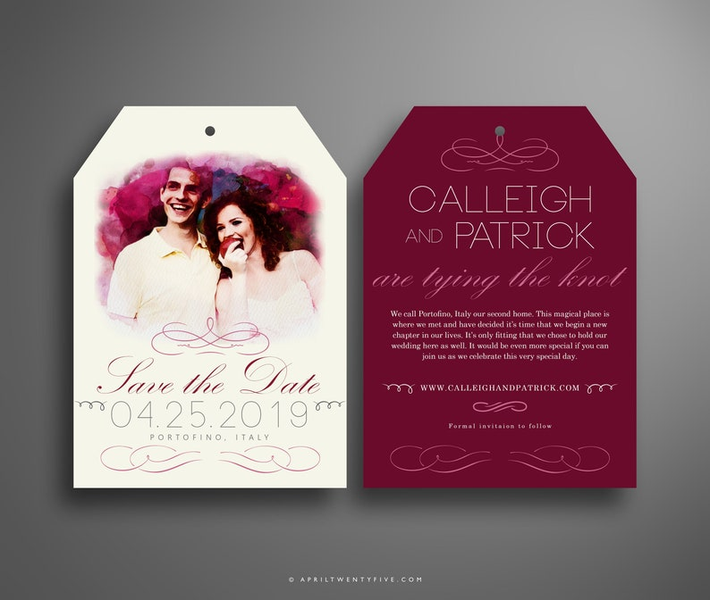Digital Download CALLEIGH DIY Sangria and Mauve Watercolor Luggage Tag Save the Date Invitation Template